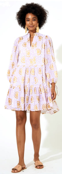 Oliphant Long Sleeve Yoke Dress-Jamali Rhubarb