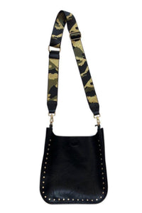 AhDorned Black Vegan Messenger with Gold Studs