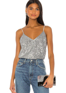David Lerner Sequin Chrissy V-Neck Cami