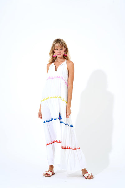 Oliphant Long Tiered Double Tassel Dress Salsa