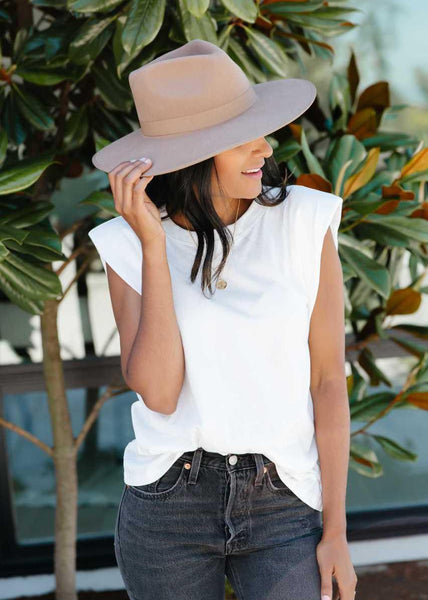 Priv Phia Padded Shoulder Tee White