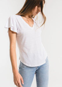 Z Supply Tri Blend Flutter V Neck Tee