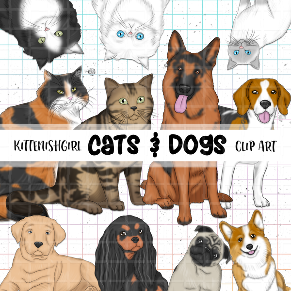 Cats & Dogs // Clip Art