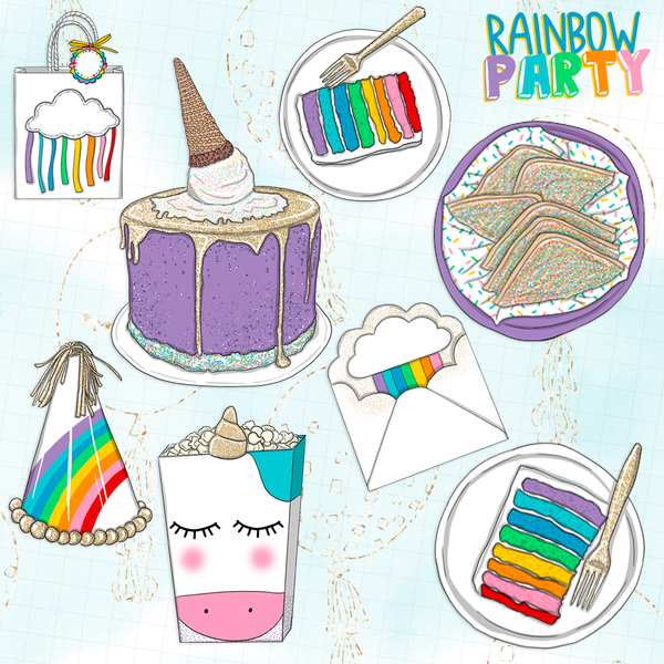 Rainbow Party // Clip Art