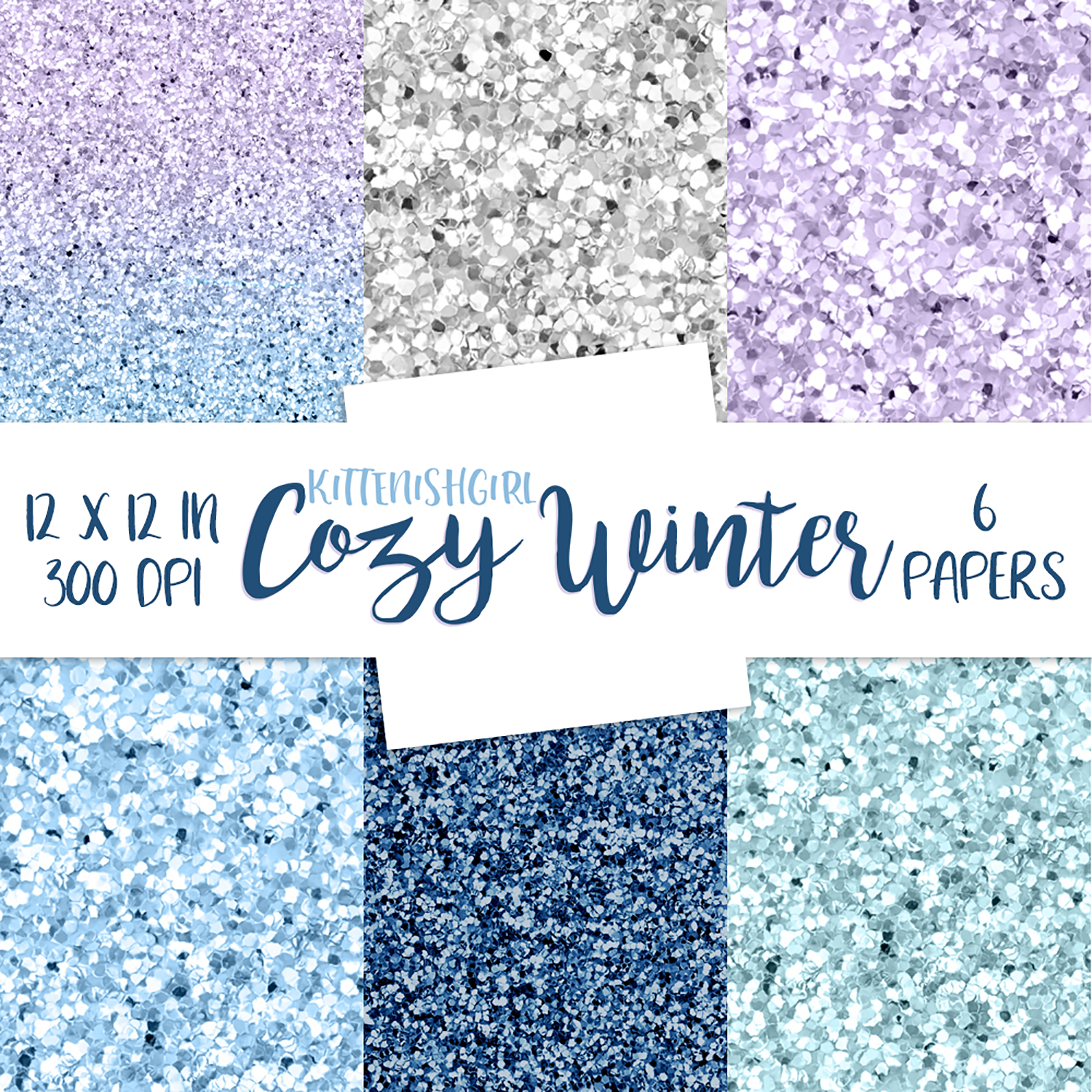 Glitter Digital Papers - Cozy Winter