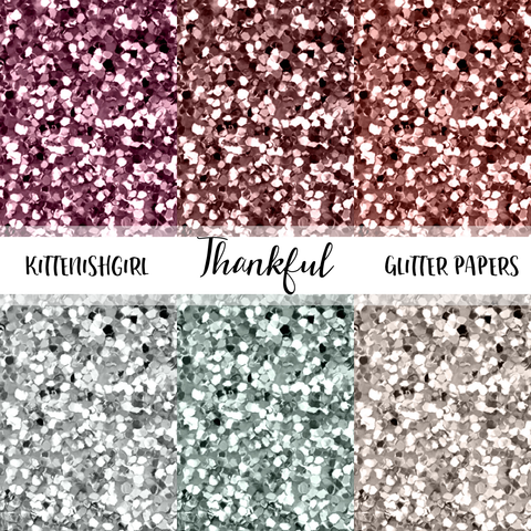 Thankful // Glitter Digital Papers