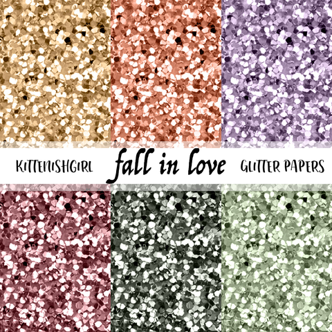 Fall In Love // Glitter Digital Papers