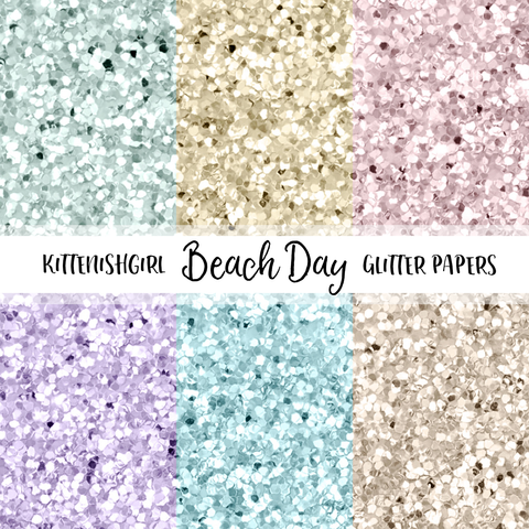 Beach Day // Glitter Digital Papers