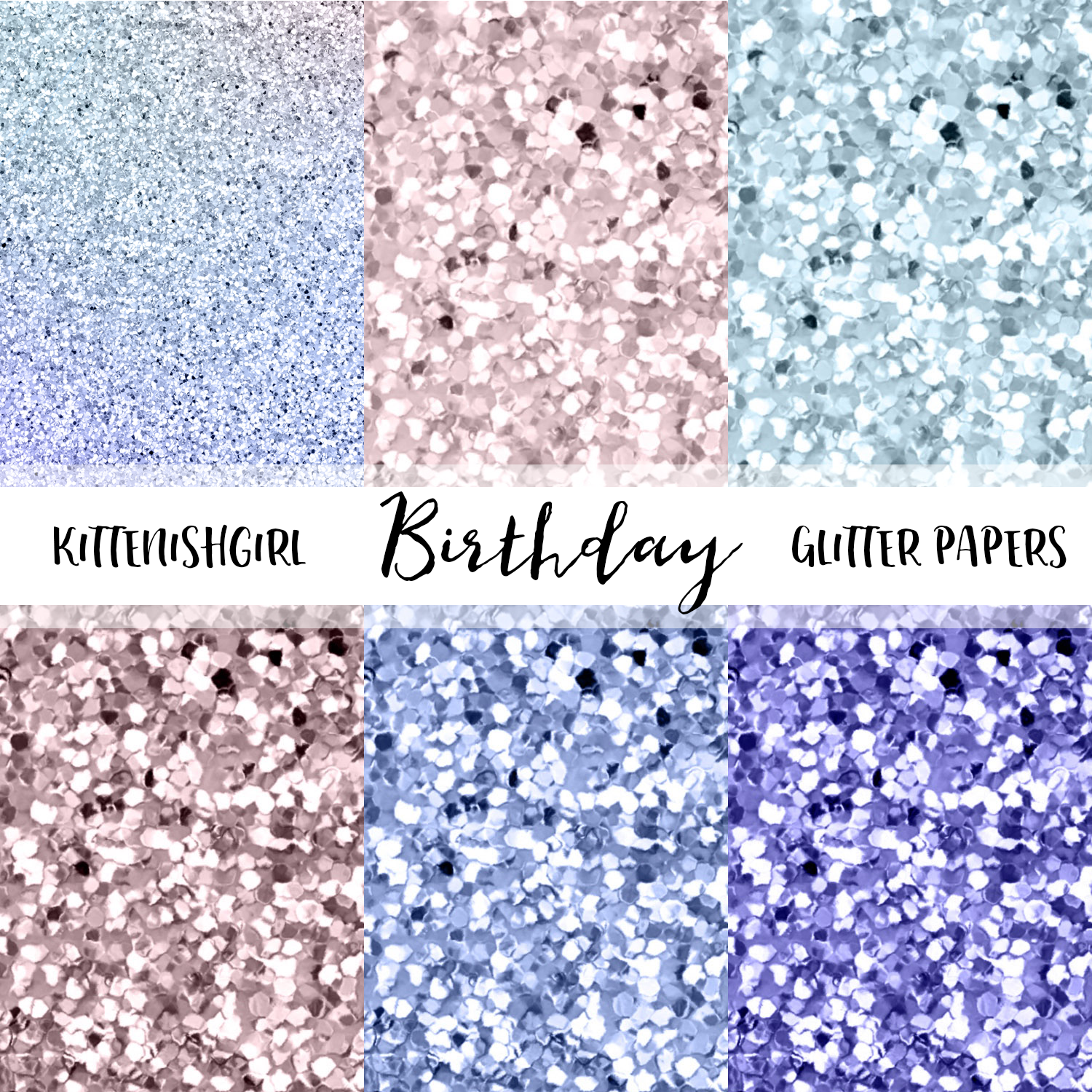 Glitter Digital Papers - Birthday