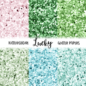 Lucky // Glitter Digital Papers