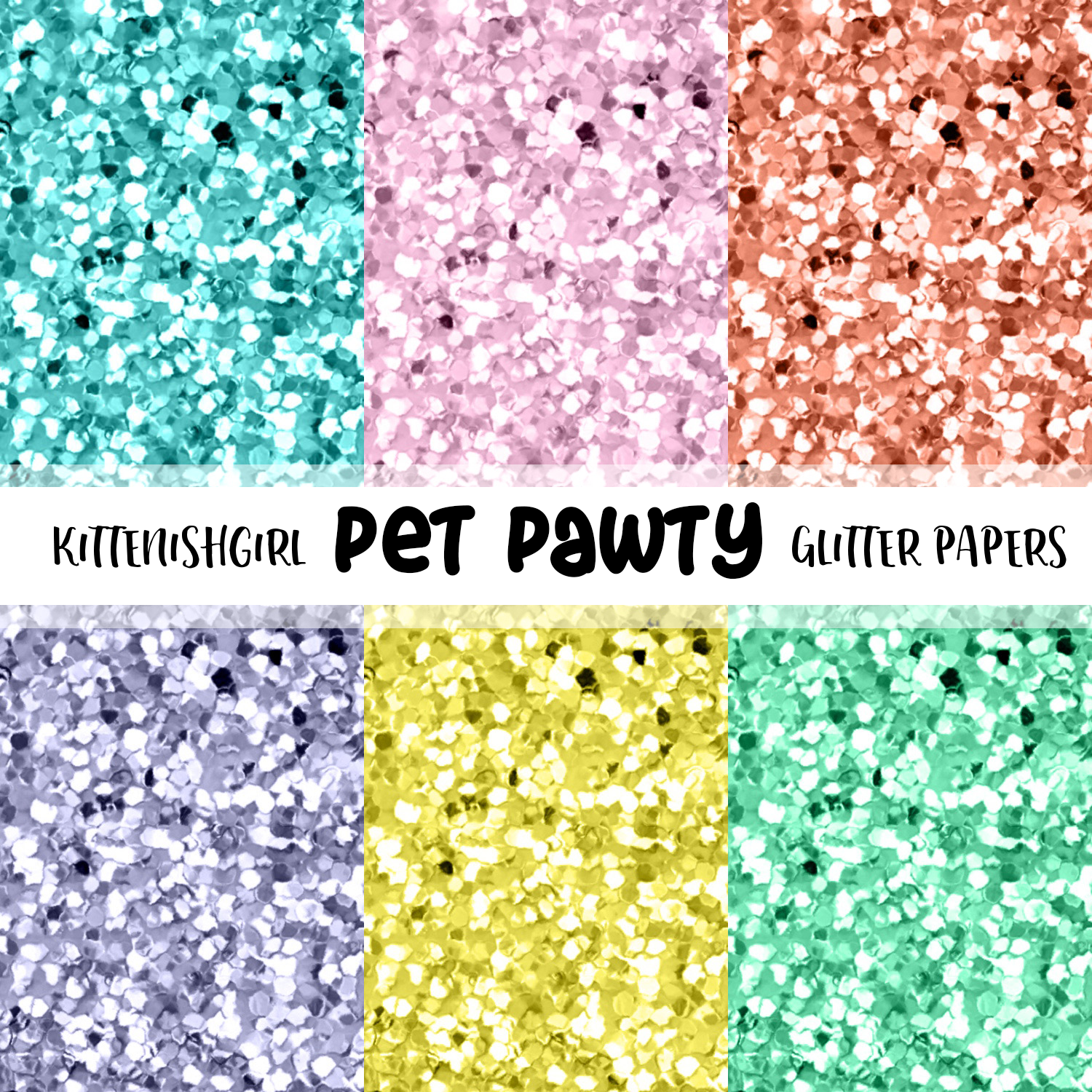 Pet Pawty // Glitter Digital Papers