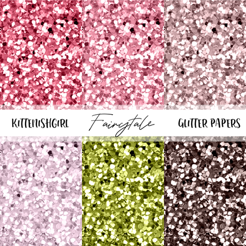 Glitter Digital Papers - Fairytale
