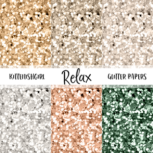 Relax // Glitter Digital Papers