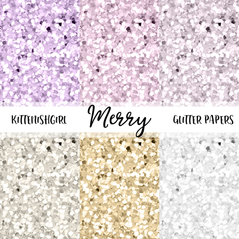 Merry // Glitter Digital Papers
