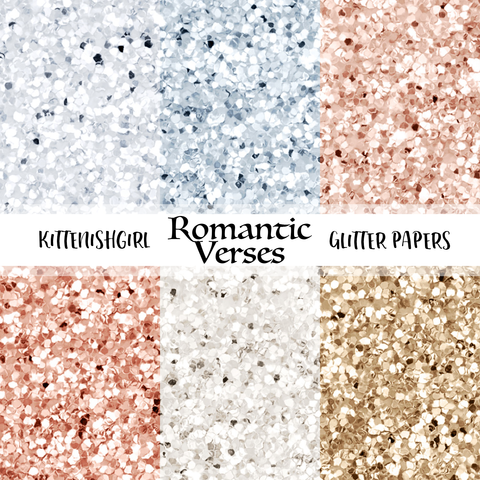 Romantic Verses // Glitter Digital Papers