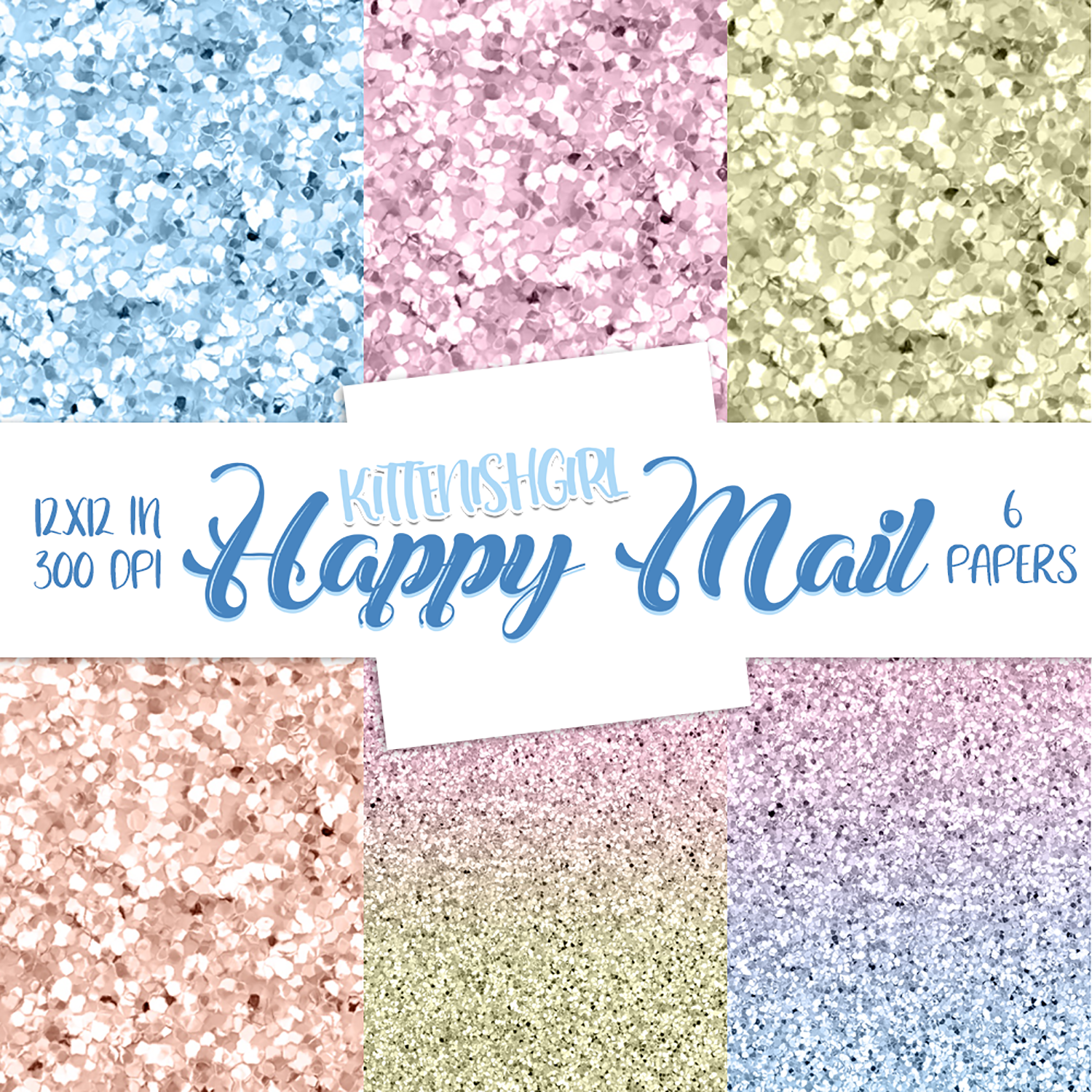 Glitter Digital Papers - Happy Mail