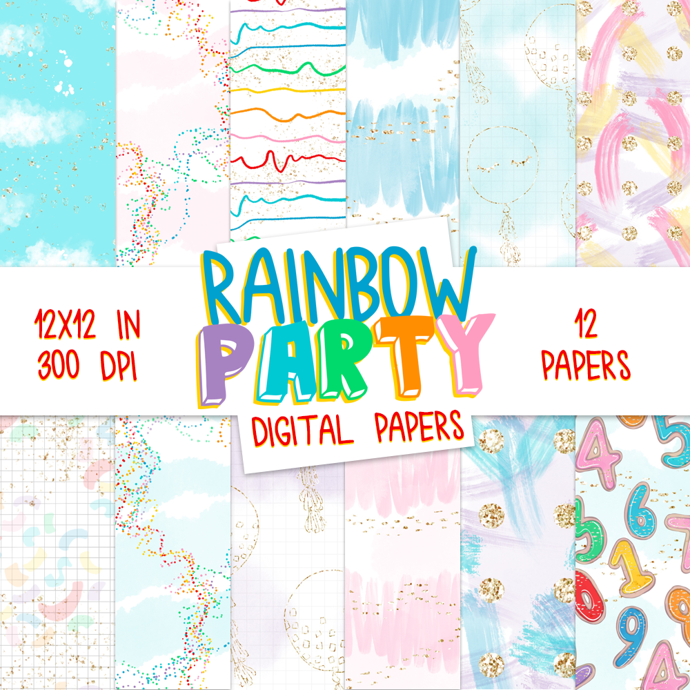 Digital Papers - Rainbow Party