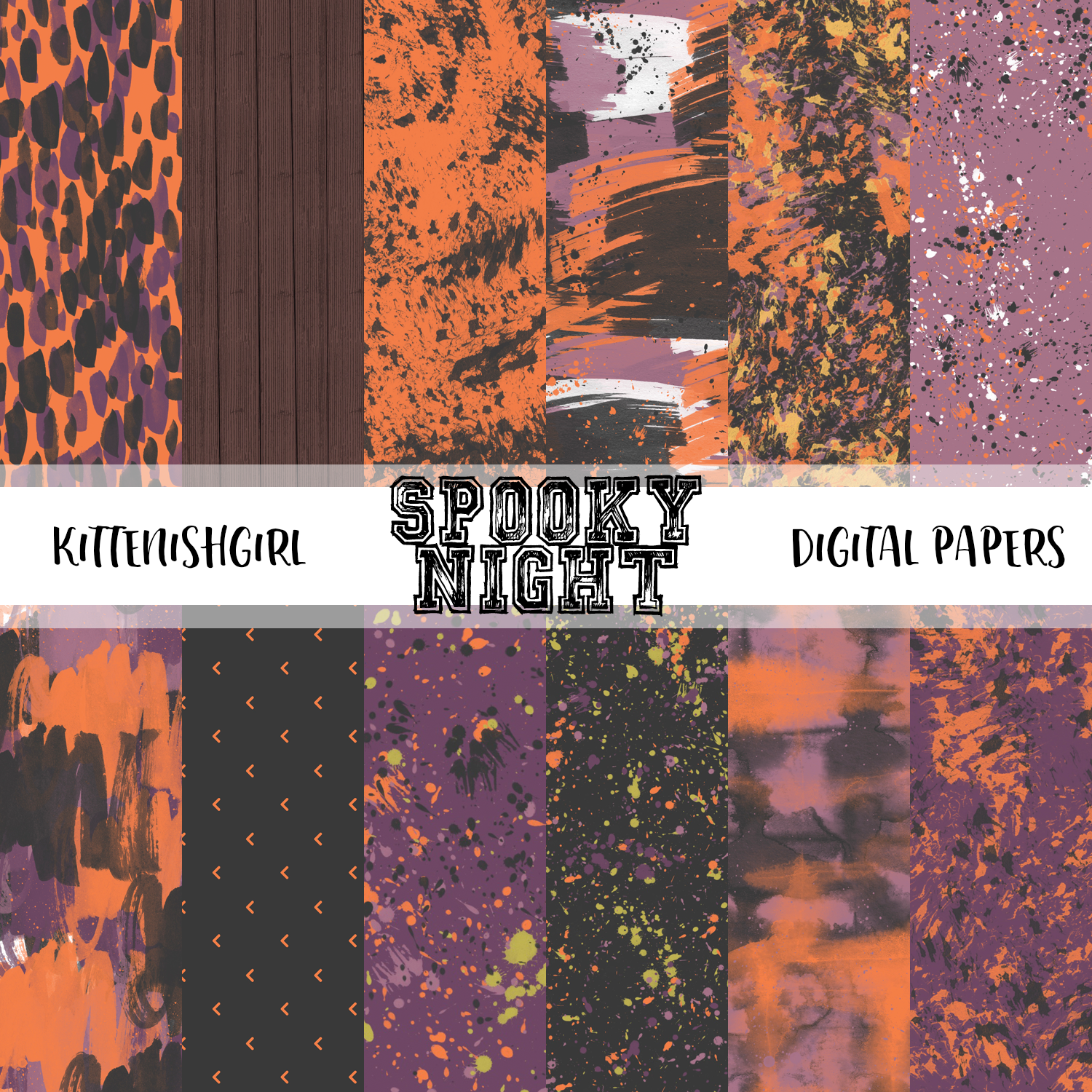 Spooky Night Digital Papers Kittenishgirl