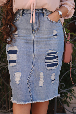 Blue Dual Denim Structured (NOT Stretchy) Distressed Denim Skirt