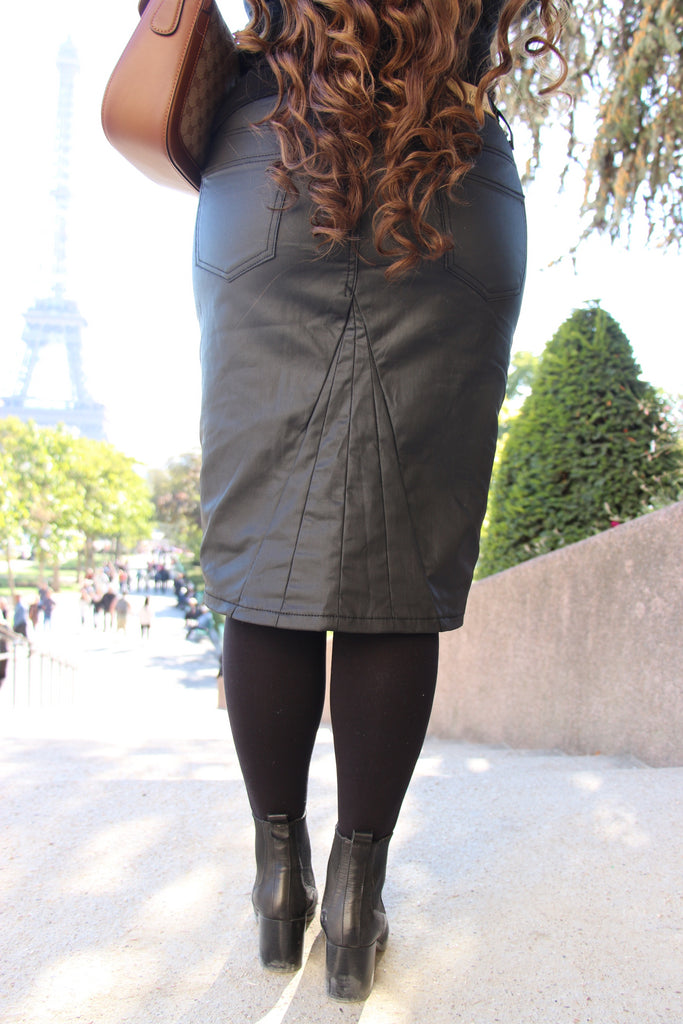 Black Waxed Denim Moto Skirt