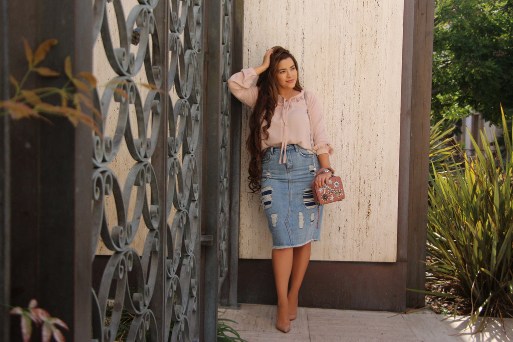 Light Blue Structured (NOT Stretchy) Super Distressed Denim Skirt