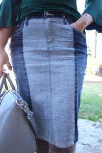Dual Denim Stretch Below The Knee Modest Denim Skirt