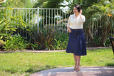 OVERSTOCK/FINAL SALE: True Blue Partially Pleated A-Line Stretch Modest Denim Skirt