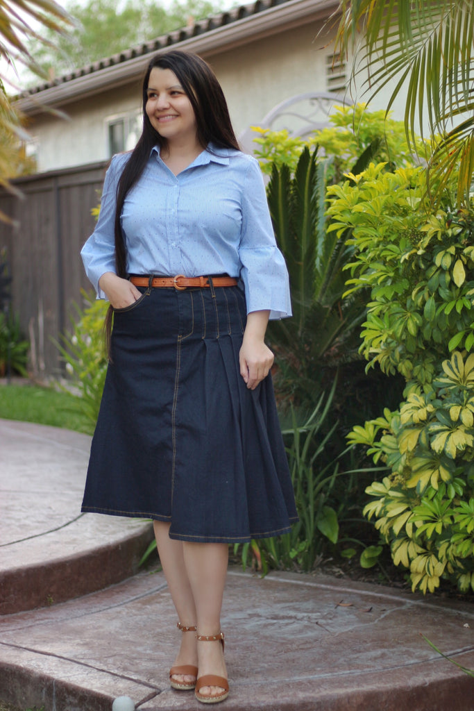 OVERSTOCK/FINAL SALE: Indigo Partially Pleated A-Line Stretchy Denim Skirt