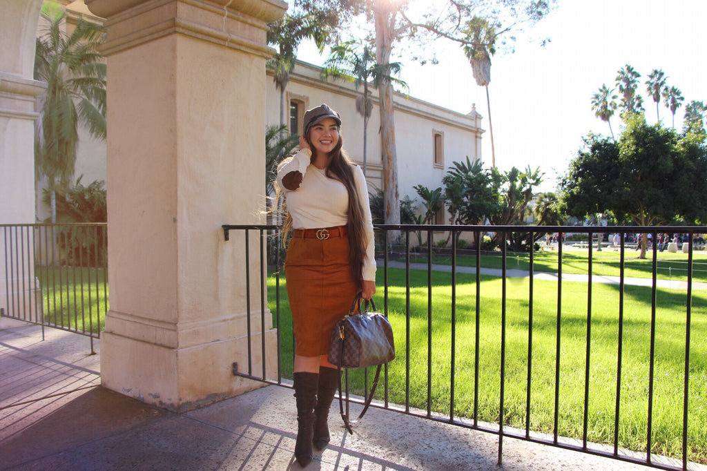 Cognac Stretchy Faux Suede Skirt