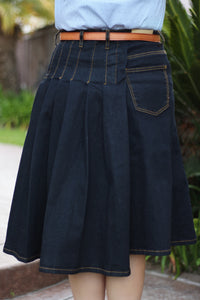OVERSTOCK/FINAL SALE: Indigo Partially Pleated A-Line Stretch Modest Denim Skirt