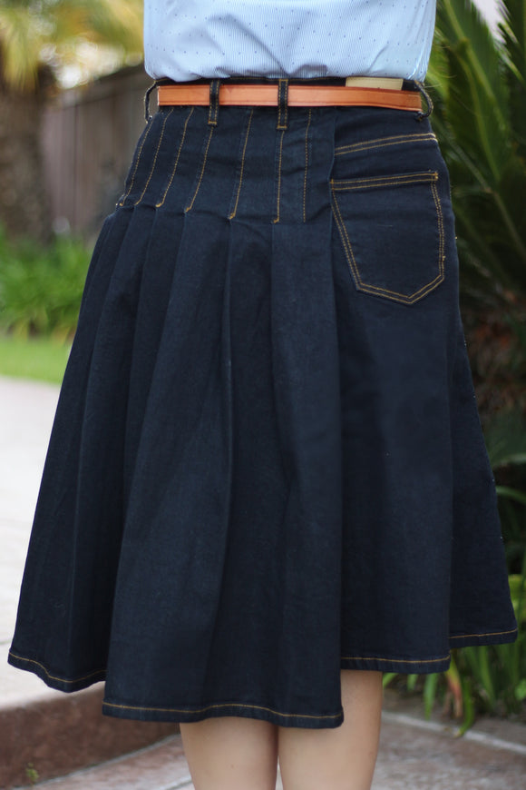 Indigo Partially Pleated A-Line Stretch Modest Denim Skirt