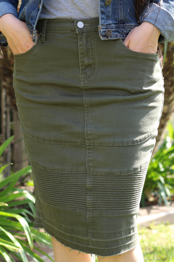 Olive Green Below The Knee Modest Stretchy Denim Moto Skirt