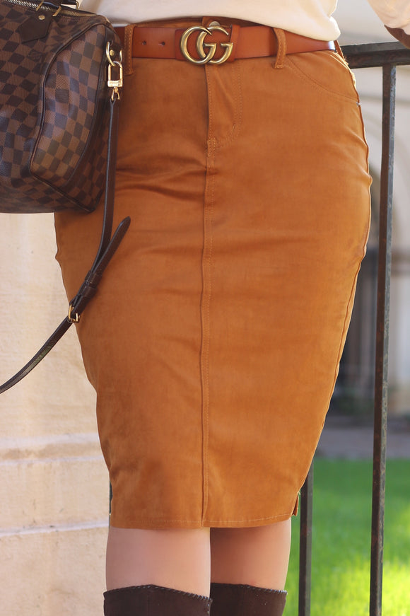 FINAL SALE: Cognac Stretch Faux Suede Below The Knee Modest Skirt