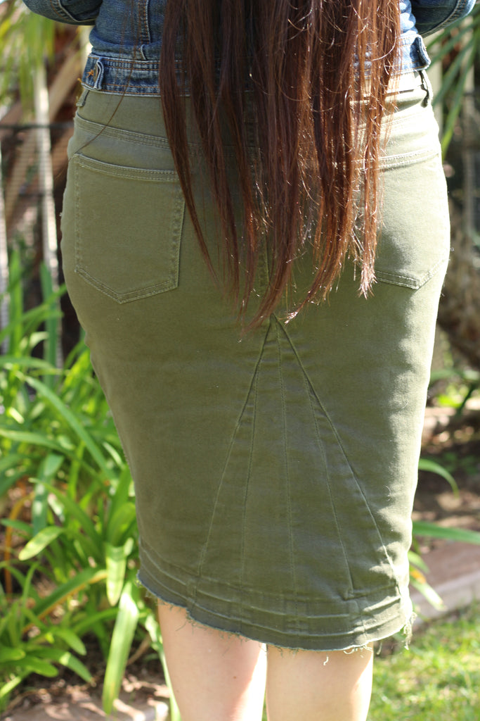 Olive Green Stretchy Denim Moto Skirt