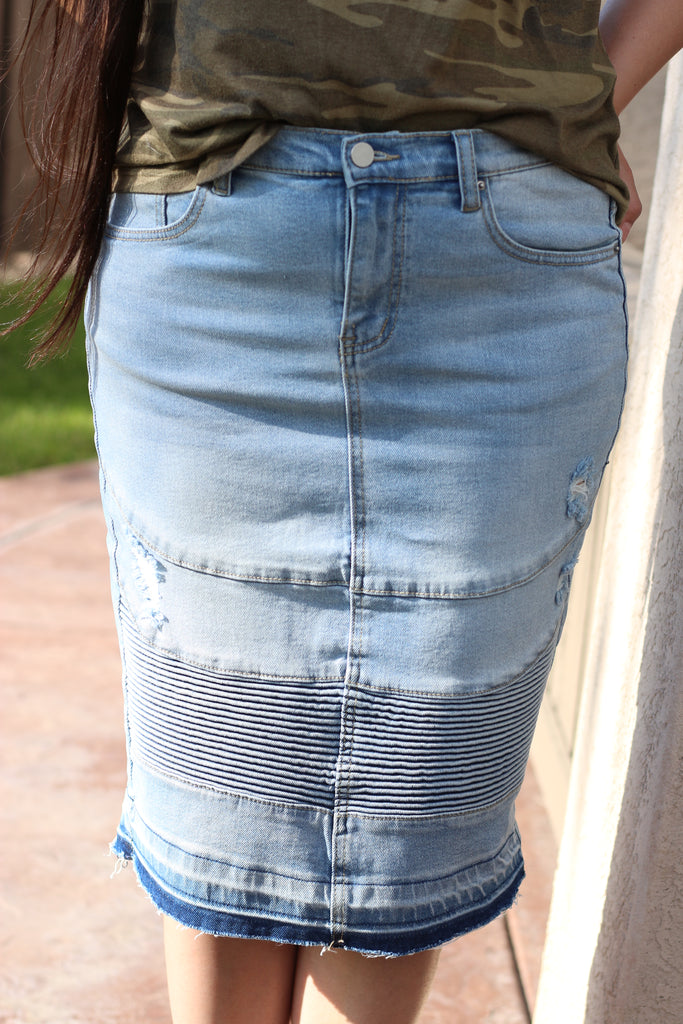 Light Blue Stretchy Denim Moto Skirt