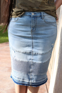 Light Washed Blue Below The Knee Modest Stretchy Denim Moto Skirt