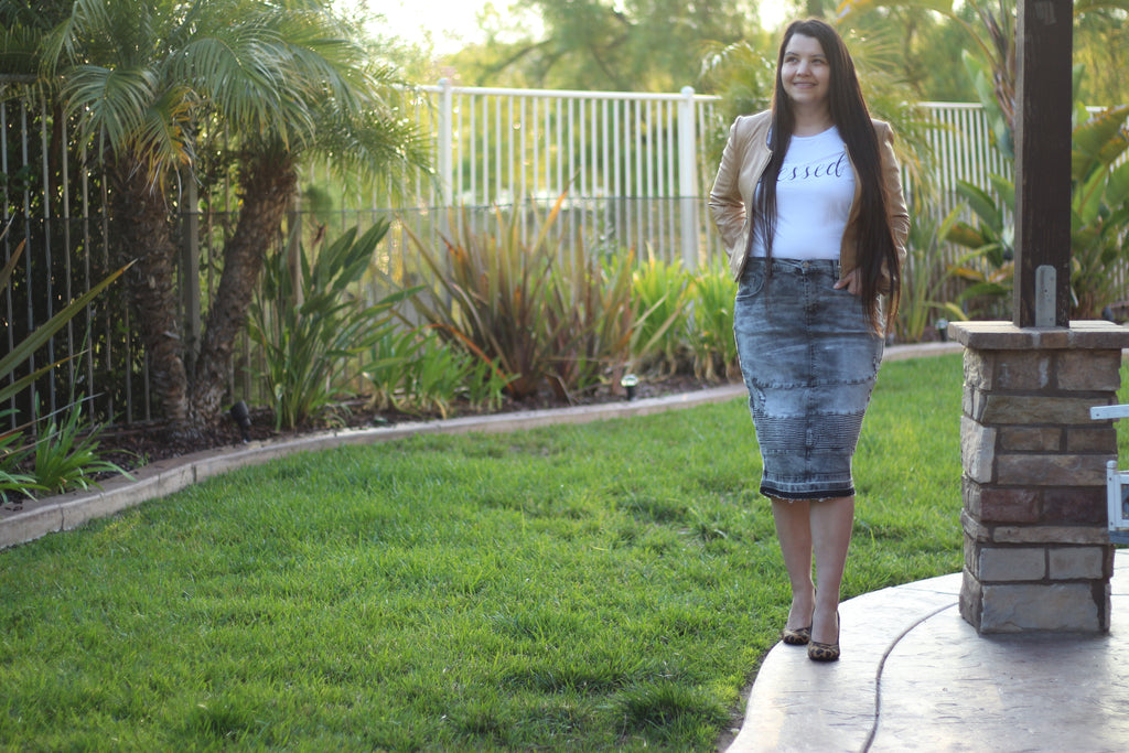 Gray Stretchy Denim Moto Skirt
