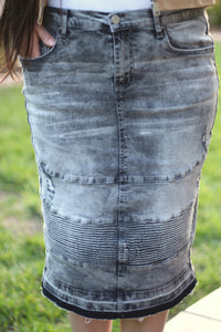 Acid Washed Gray Below The Knee Modest Stretchy Denim Moto Skirt