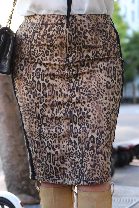 FINAL SALE Leopard Below The Knee Modest Stretchy Denim Skirt