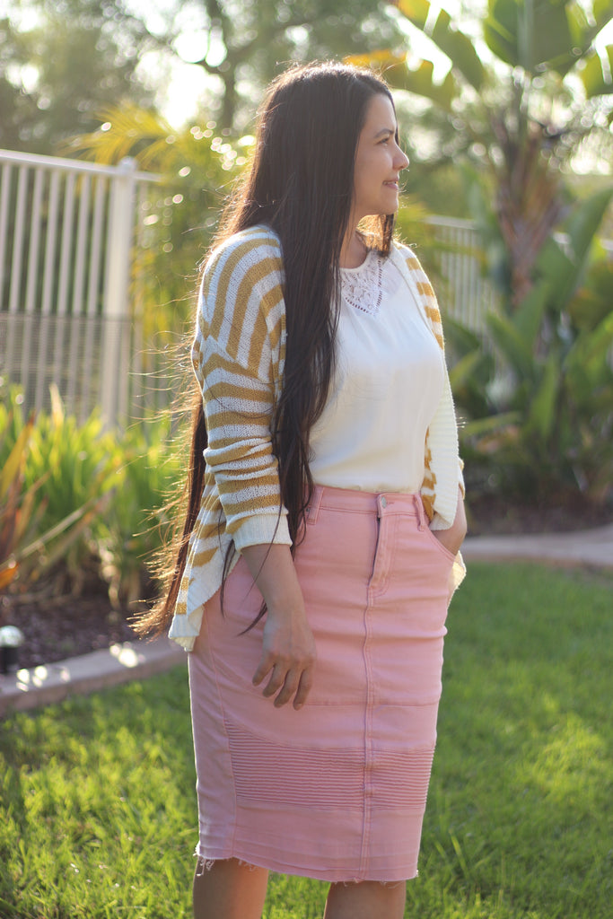 Pink Stretchy Denim Moto Skirt