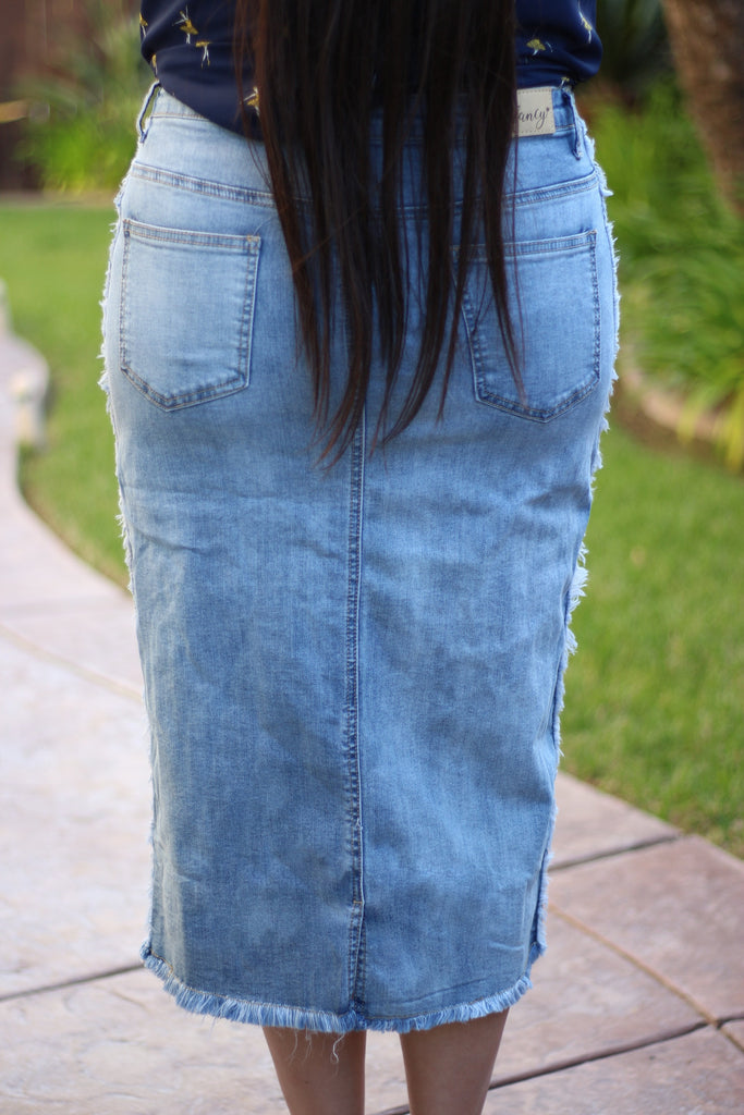 Side Stripe Mid-Calf Stretchy Denim Skirt