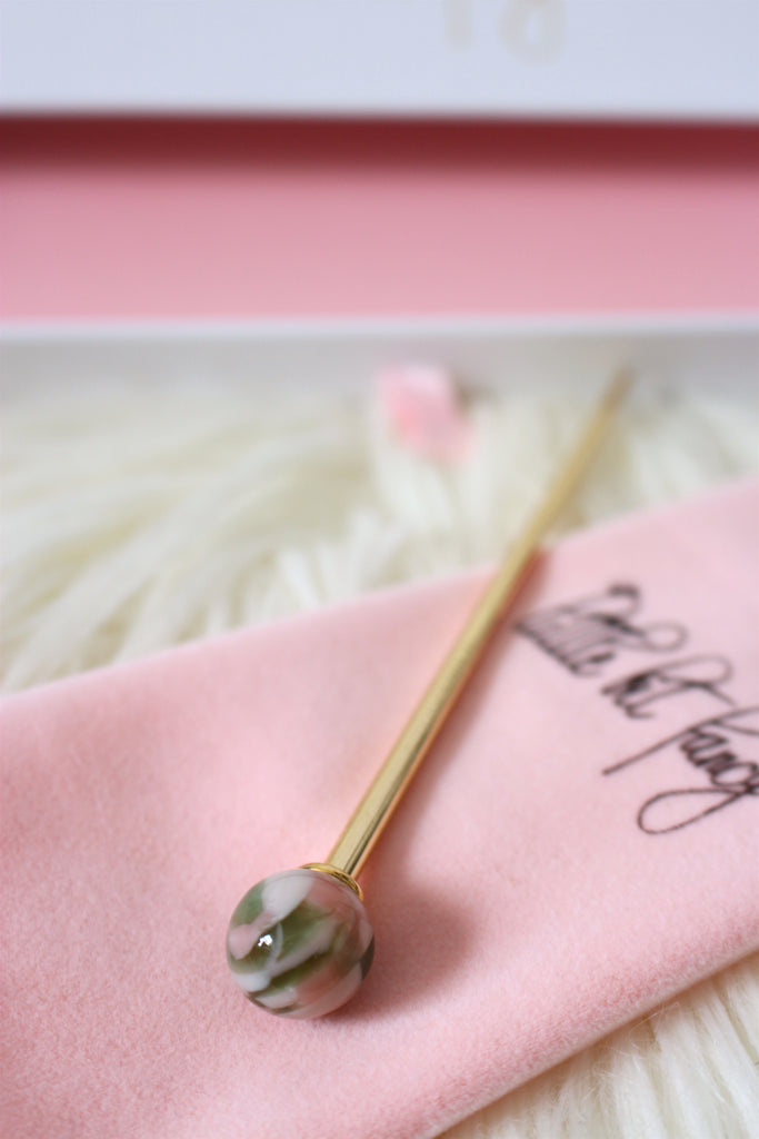 Marble Hairsticks / 10 COLORS (Pair of 2 Sticks)