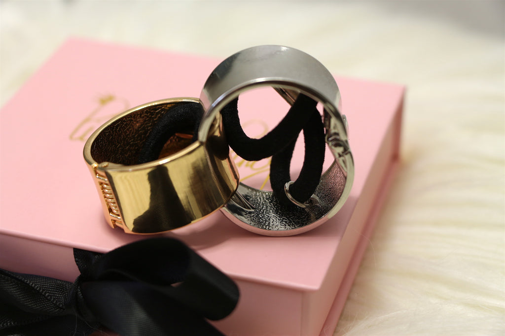 Metal Hinged Ponytail Cuff Wrap in Silver & Gold - Set of Both