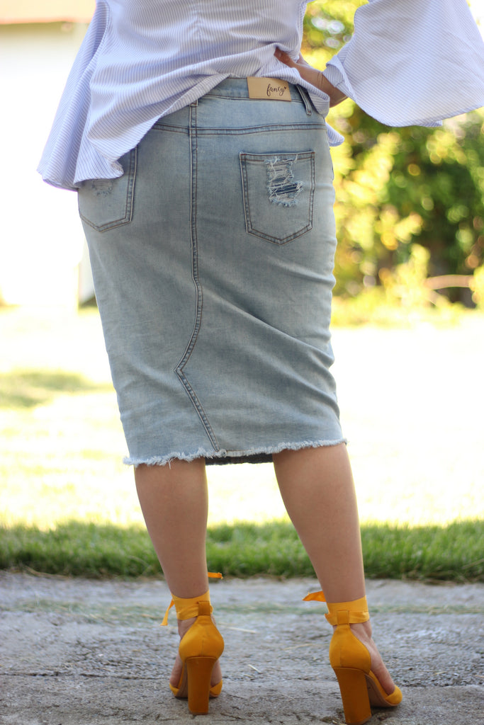 Light Blue Stretchy Super Distressed Denim Skirt