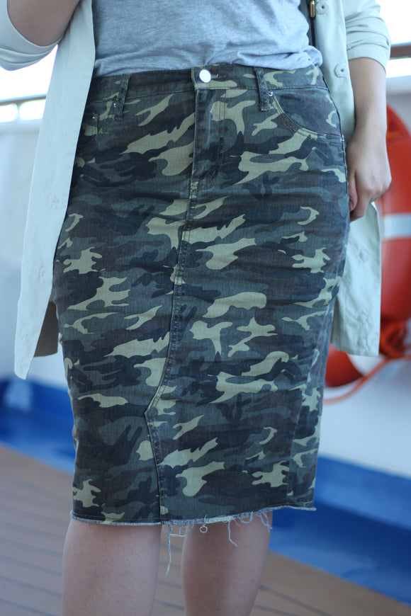Camo Below The Knee Modest Stretchy Distressed Denim Skirt