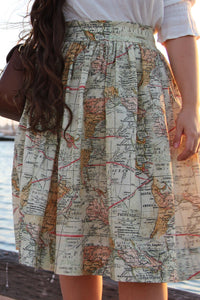 OVERSTOCK/FINAL SALE: Classic Midi Skirt in Map Print