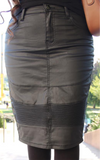 END OF SEASON/FINAL SALE: Black Below The Knee Modest Waxed Denim Moto Skirt