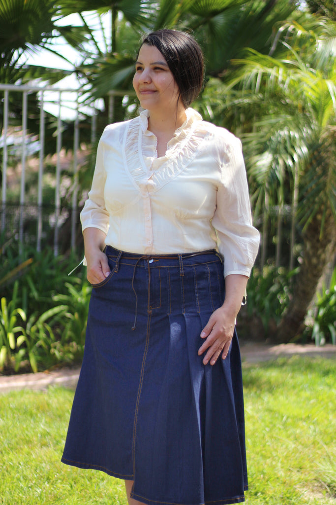 OVERSTOCK/FINAL SALE: True Blue Partially Pleated A-Line Stretchy Denim Skirt