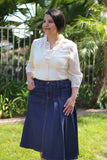 OVERSTOCK CLEARANCE/FINAL SALE: True Blue Partially Pleated A-Line Stretch Modest Denim Skirt