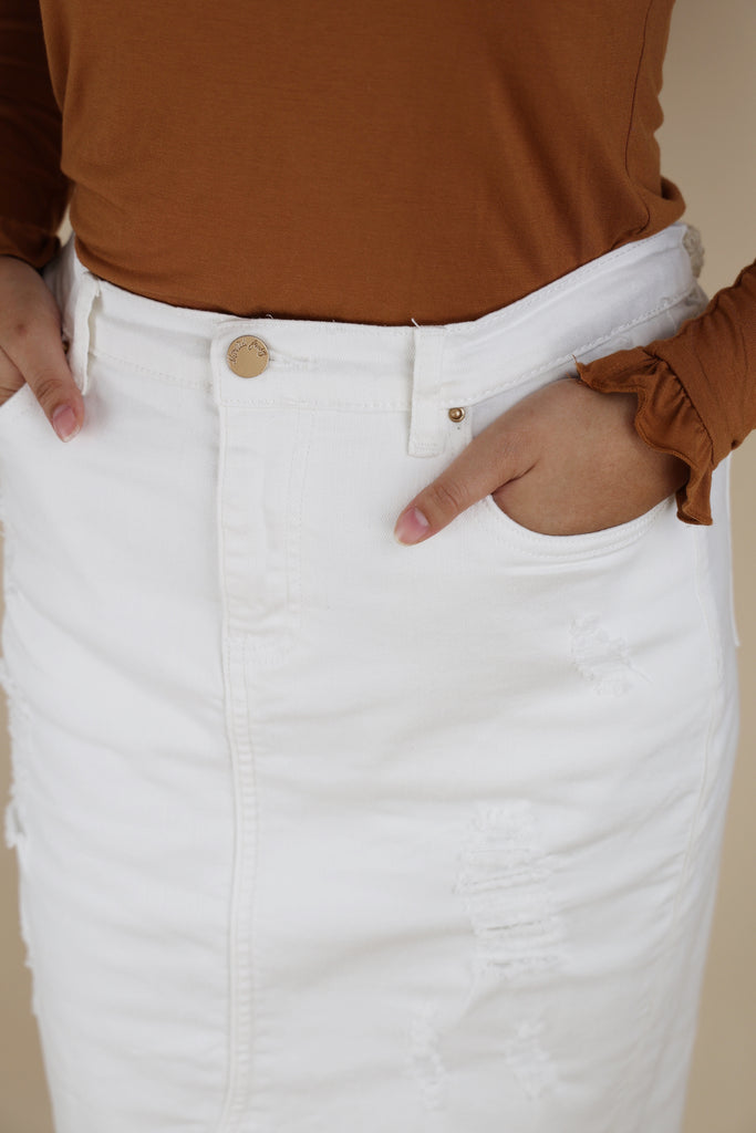 White Stretchy Super Distressed Denim Skirt